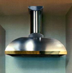 "XLH12-236B Vent-A-Hood Contemporary 36"" Wall Mount Hood (600 CFM) with Brass Lip Treatment - Stainless Steel"