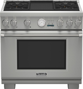 """PRL364JDG Thermador 36"""" Professional Series Four Burner with Griddle Pro Grand Commercial Depth Liquid Propane Range - Stainless Steel"""