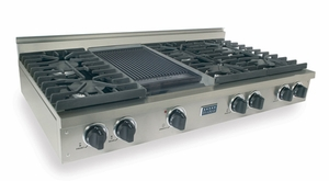 TPN047-7 Five Star 48'' Liquid Propane Pro Cooktop with 6 Sealed Burners & Reversible Grill/Griddle - Stainless Steel