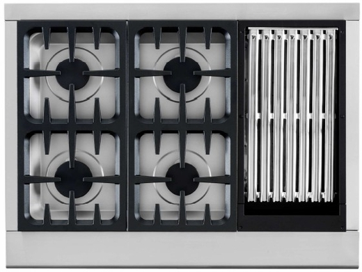 """CPU-364GL-N DCS 36"""" Professional Gas Cooktop 4 Burners & Grill- Natural Gas - Stainless Steel"""