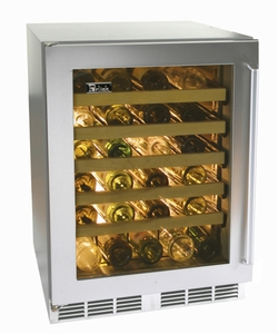 """HC24WB33L Perlick 24"""" Commercial Series Built-in Wine Reserve with Stainless Steel Glass Door - Left Hinge"""
