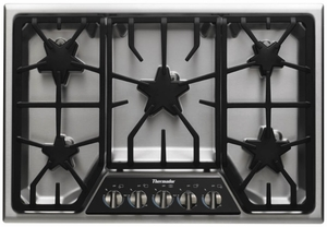 """SGSX305FS Thermador 30"""" Masterpiece Deluxe Gas Cooktop with 5 Star Burners - Stainless Steel"""