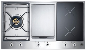 """PM361IGX Bertazzoni Built-in Designer Series 36"""" Segmented Gas Cooktop - 1 Burner - 2 Induction with Griddle - Stainless Steel"""