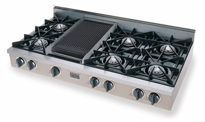 TPN048-7 Five Star 48'' Liquid Propane Pro Cooktop with 6 Open Burners & Reversible Grill/Griddle - Stainless Steel
