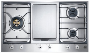 "PM3630GX Bertazzoni Built-in Design Series 3-Burner Segmented 36"" Cooktop with Griddle - Stainless Steel"