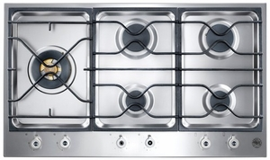 "PM365S0X Bertazzoni Built-in Designer Series 36"" Segmented Gas Cooktop - 5 Burners - Stainless Steel"