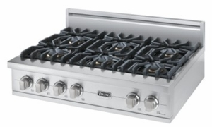 "VGRT5366BSS Viking 36"" Gas Custom Sealed Burner Rangetop with 6 Burners - Natural Gas -  Stainless Steel"