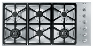 """KM3484LP Miele 3000 Series 42"""" Liquid Propane Cooktop with Hexa Grates - Stainless Steel"""