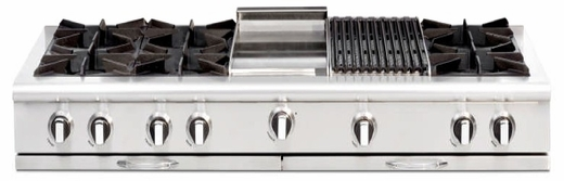 """CGRT604BG2N Capital 60"""" Gas Range Top with 6 Open Burners and 12"""" Grill and 12"""" Griddle - Stainless Steel"""