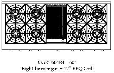 "CGRT604B4N Capital 60"" Gas Range Top with 8 Open Burners and 12"" Grill - Stainless Steel"