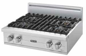 """VGRT5304BSS Viking 30"""" Gas Custom Sealed Burner Rangetop with 4 Burners -  Natural Gas - Stainless Steel"""