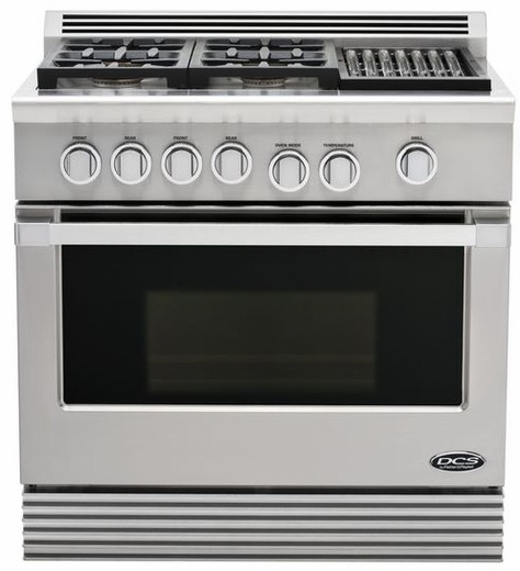 "RDU364GLL DCS 36"" Professional 4 Burner Dual Fuel Liquid Propane Gas Range with Grill - Stainless Steel"