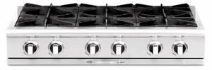 """CGRT362B2N Capital 36"""" Gas Range Top with 4 Open Burners and 12"""" Grill - Stainless Steel"""