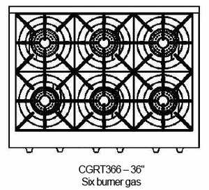 """CGRT366N Capital Culinarian 36"""" Gas Range Top with 6 Open Burners - Natural Gas - Stainless Steel"""