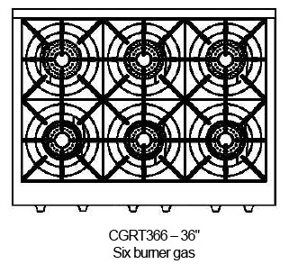 "CGRT366N Capital 36"" Gas Range Top with 6 Open Burners - Stainless Steel"
