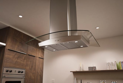 "ZML-M90BG Zephyr 36""  Milano-G Island Hood with 715 CFM Blower - Stainless Steel with Glass Canopy"