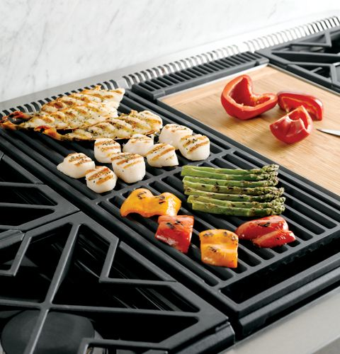 "ZGU486NRPSS GE Monogram 48"" Pro Style Gas Cooktop with 6 Burners and Grill - Natural Gas - Stainless Steel"