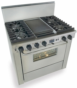"""TPN337-7BW Five Star 36"""" Pro Style Dual-Fuel Self-Cleaning Convection Range with Sealed Burners - Liquid Propane - Stainless Steel"""