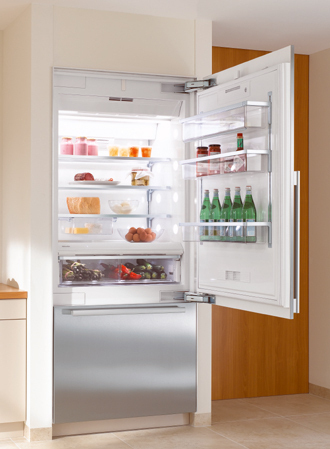 "KF1903SF Miele Energy Star 36"" Bottom Mount Fully Integrated Refrigerator/Freezer Right Hinged - CleanTouch Stainless Steel"