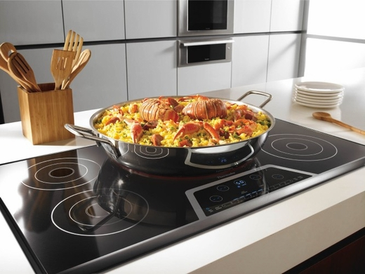 """CES365FS Thermador 36"""" Masterpiece Deluxe Electric Cooktop with 5 Elements, Touch Control Panel and 1 Sensor Dome - Black with Stainless Steel Trim"""