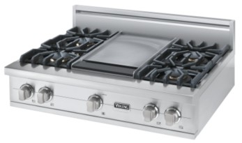 "VGRT5364GSS Viking 36"" Gas Custom Sealed Burner Rangetop with 4 Burners and Griddle - Natural Gas -  Stainless Steel"