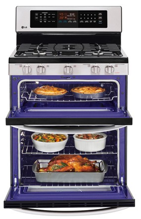 LDG3036ST LG 6.1 Cu. Ft. Capacity Gas Double Oven Range with EasyClean and IntuiTouch Controls - Stainless Steel