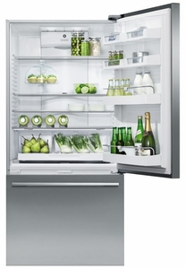 RF170WDLX5N Fisher Paykel ActiveSmart Fridge - Left Hinge - 17 cu. ft. Counter Depth Bottom Freezer Refrigerator - EZKleen Stainless Steel