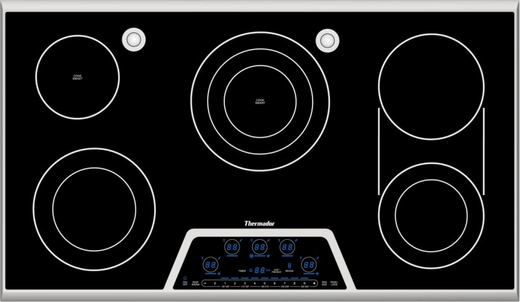 """CES366FS Thermador 36"""" Masterpiece Deluxe Electric Cooktop with 5 Elements, Touch Control Panel, Dual Element Bridge and 2 Sensor Domes - Black with Stainless Steel Trim"""