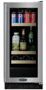"""3BARM-BB-G-R Marvel 15"""" Luxury Undercounter Two Zone Beverage and Wine Refrigerator - Black Cabinet & Black Frame Glass Door - Right Hinge"""