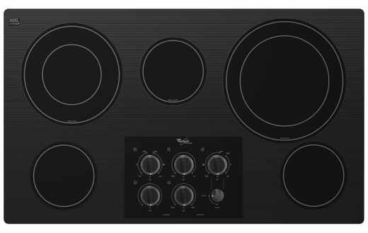 "G7CE3635XB Whirlpool 5 Element Electric Cooktop 36"" Built-in - Black"
