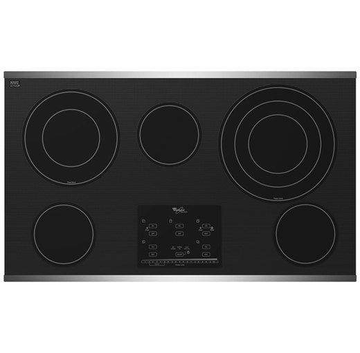 """G9CE3675XS Whirlpool Gold 36"""" Electric Cooktop - Black on Stainless Steel"""
