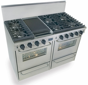 "TPN531-7BW Five Star 48"" Pro Style Gas Convection Range with Sealed Burners - Liquid Propane - Stainless Steel"