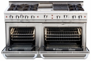 """CGSR604GG2L Capital Culinarian Series 60"""" Self-Clean Liquid Propane Range with 6 Open Burners and 24"""" Griddle - Stainless Steel"""