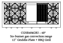 "CGSR604BG2L Capital Culinarian Series 60"" Self-Clean Liquid Propane Range with 6 Open Burners and 12"" Griddle and 12"" Grill - Stainless Steel"