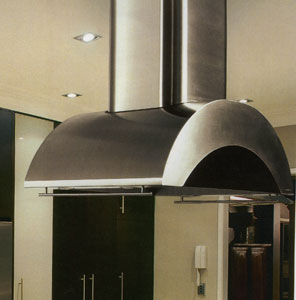 """IZTH-466 Vent-A-Hood 66"""" Wide Island Mount Hood (1200 CFM) Glass Accents - Stainless Steel"""