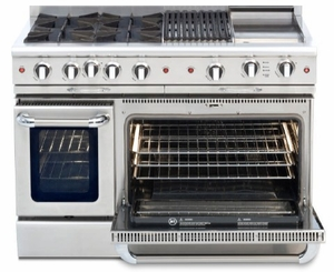 """CGSR484BBL Capital Culinarian Series 48"""" Self-Clean Liquid Propane Range with 4 Open Burners and 24"""" Grill - Stainless Steel"""