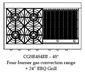 """CGSR484BBL Capital Culinarian Series 48"""" Self-Clean Range with 4 Open Burners and 24"""" Grill - Liquid Propane - Stainless Steel"""