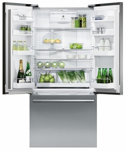 RF170ADUSX4N Fisher Paykel ActiveSmart Refrigerator - 17 cu. ft. Counter Depth French Door with Ice & Water - EZKleen Stainless Steel
