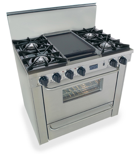 "TPN310-7BW Five Star 36"" Pro Style Liquid Propane Range with Open Burners - Stainless Steel"