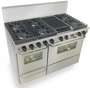 """TPN537-7BW Five Star 48"""" Pro Style Dual-Fuel Range Sealed Burners Self-Cleaning Convection Range - Liquid Propane - Stainless Steel"""