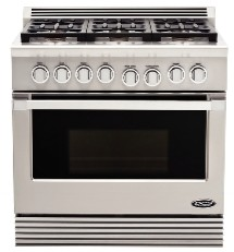 "RGU366L DCS 36"" Professional, 6 Burner Liquid Propane Gas Range - Stainless Steel"