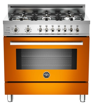 "PRO366DFSAR Bertazzoni Professional Series 36"" Dual Fuel  6 Gas Burner Range + Electric Self Clean Oven - Orange"