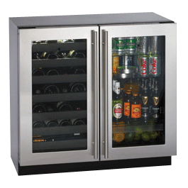 """3036BVWCS-00 U-Line 3000 Series 36"""" Dual Zone Convection Cooling System Wine Captain Beverage Center - Stainless Steel"""