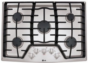 "LCG3011ST LG 30"" Gas Cooktop with SuperBoil and Heavy Duty Cast Iron Grates - Stainless Steel"