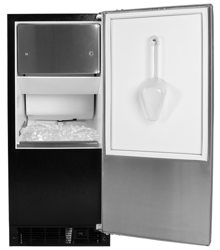 """30iMT-BB-O-R Marvel 15"""" Indoor Clear Ice Machine - Black Cabinet, Overlay Panel - Right Hinge"""