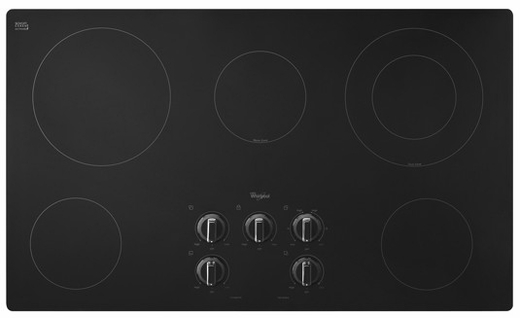 W5CE3625AB Whirlpool 36 in. Electric Cooktop with Warm Zone element - Black