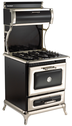 "4210CDGBLK Heartland 30"" Dual Fuel Range with Self-Cleaning Electric Convection Oven and 4 Burner Natural Gas Cooktop - Black"