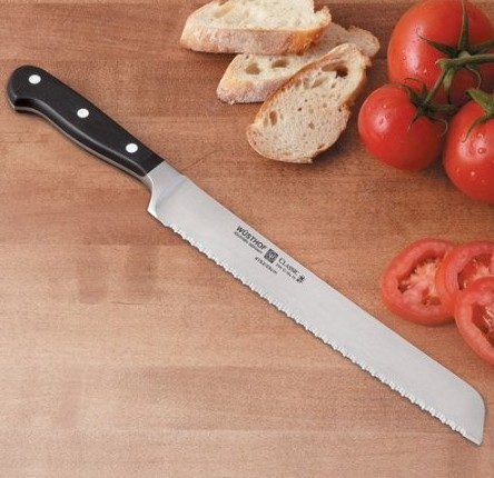 "4152723 Wusthof Black Classic 9"" Serrated Bread Knife with Double Serration Blades"