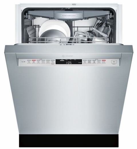 "SHE7PT55UC Bosch 800 Plus Series 24"" Recessed Handle Dishwasher - Stainless Steel"