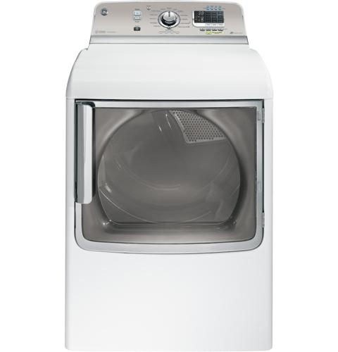 GTDS850GDWS General Electric GE 7.8 cu. ft. Capacity Gas Dryer with Stainless Steel Drum and Steam - White on White with Silver Backsplash